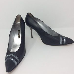 Escada Dark Gray Silver Leather Heel Pumps Sz 10 B